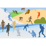 Sports disciplines silhouettes collage vector clip art