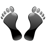 Glossy black feet imprint vector illustration