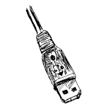 Vector clip art of hand and pencil drawn USB connector