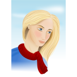 Vector graphics of sketch of a woman with a red scarf