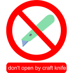 Don't open by craft knife sign vector image
