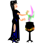 Witch with cauldron vector image