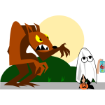Wolf behind ghost trick or treater vector image