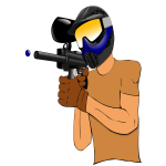 A paintball player vector drawing