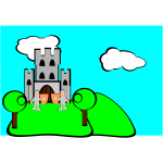 Cartoon castle with guards