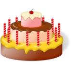 Image of birthday cake with cherry on top
