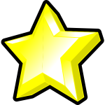 Image of bright yellow star with bevel.
