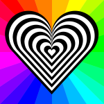 Vector image of a patterned heart with rainbow background