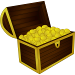 Vector image of wooden treasure chest with gold frame