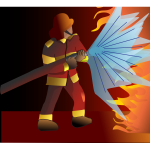 Vector drawing of fire fighter extinguishing a large fire
