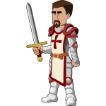Vector drawing of computer game knight character