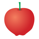 Vector drawing of assymetrical red apple