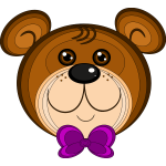 Vector illustration of teddy bear with purple bow