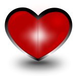 Heart with black outline vector illustration