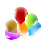 Vector illustration of six decorated party balloons