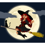 Trendy witch on broom vector illustration