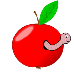 Red apple with worm vector image