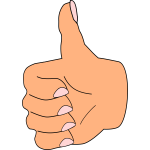 Vector illustration of thumbs up old lady hand