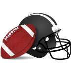 Helmet and ball for American football vector clip art
