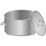 Boiling pan with lid on side vector image