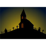Vector image of church on the hill