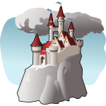Vector illustration of cartoon building on top of mountain