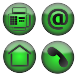 Vector clip art of four green contact icons