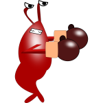 Shrimp with boxing gloves vector drawing