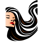 Vector image of woman with lustrous long hair