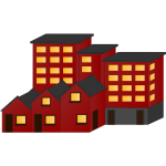 Vector illustration of red block of houses and flats