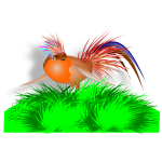 Vector drawing of colorful bird on grass