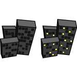 Vector drawing of tilted flat blocks at night