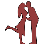 Man and woman kissing illustration