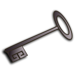 Vector clip art of old style door key with shadow