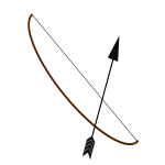Image of brown bow and black arrow