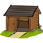 Vector illustration of wooden garage