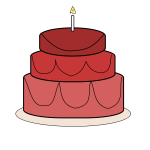 Big birthday cake with candle vector clip art