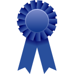 Vector drawing of blue rosette ribbon