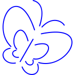 Blue line art vector image of a butterfly