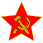 Hammer and sickle in red star vector clip art