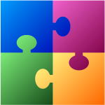 Jigsaw puzzle in different colors