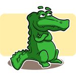 Vector image of bored green alligator