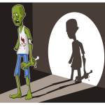 Vector illustration of green zombie in spotlight
