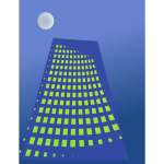 Vector drawing of tall blue building with yellow windows