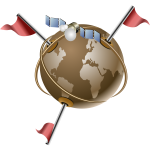 Vector clip art of gps satellite communication