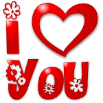 Image of red floral I love you sign