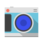 Pastel colored camera vector image