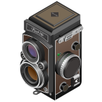 Vector image of twin-lens reflex camera