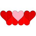 Six hearts decoration vector image