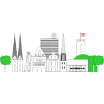 Buildings of Bielefeld City vector graphics